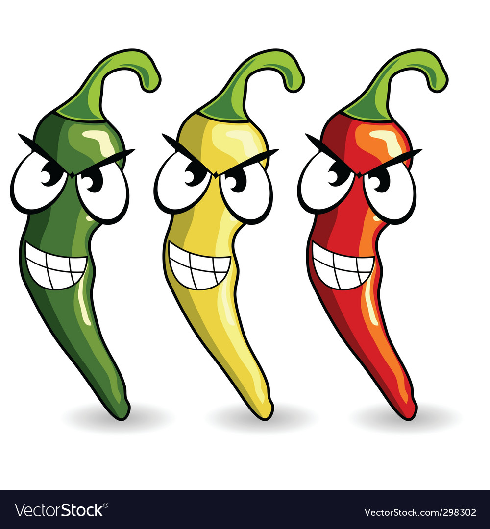 Funny mexican hot chili peppers vector