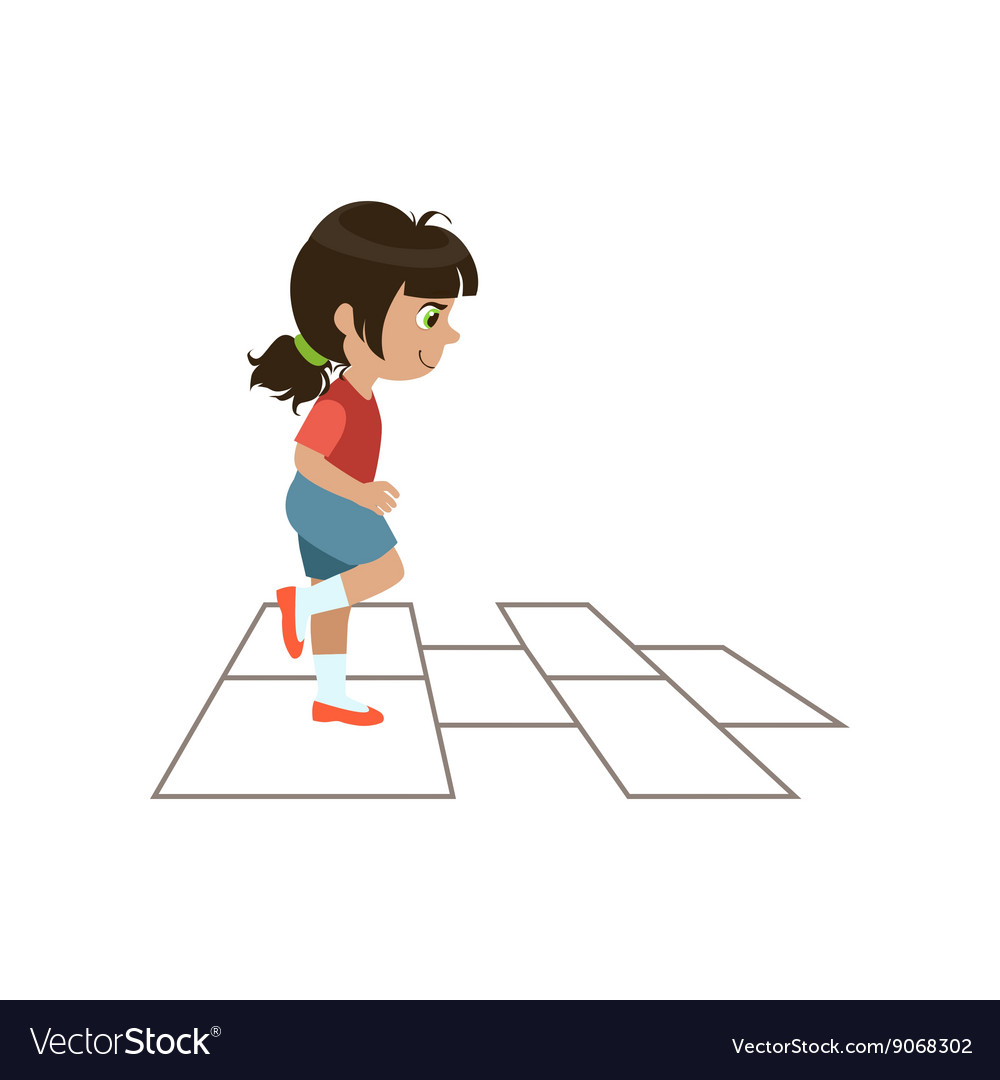 Girl playing hopscotch vector