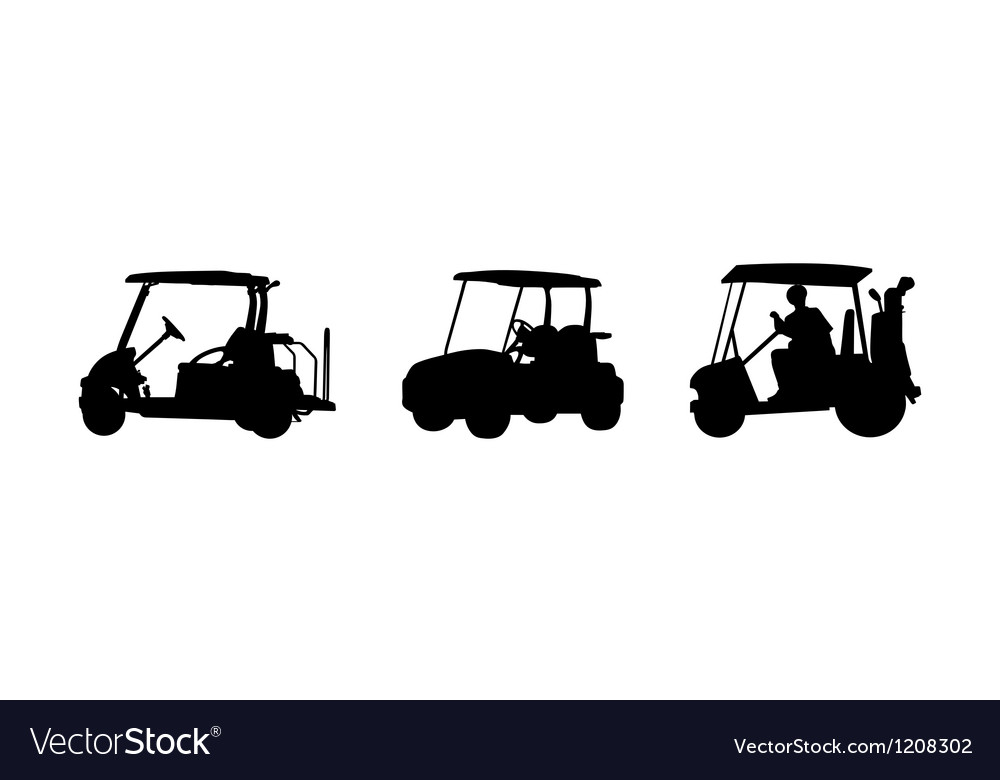 Golf car silhouettes vector