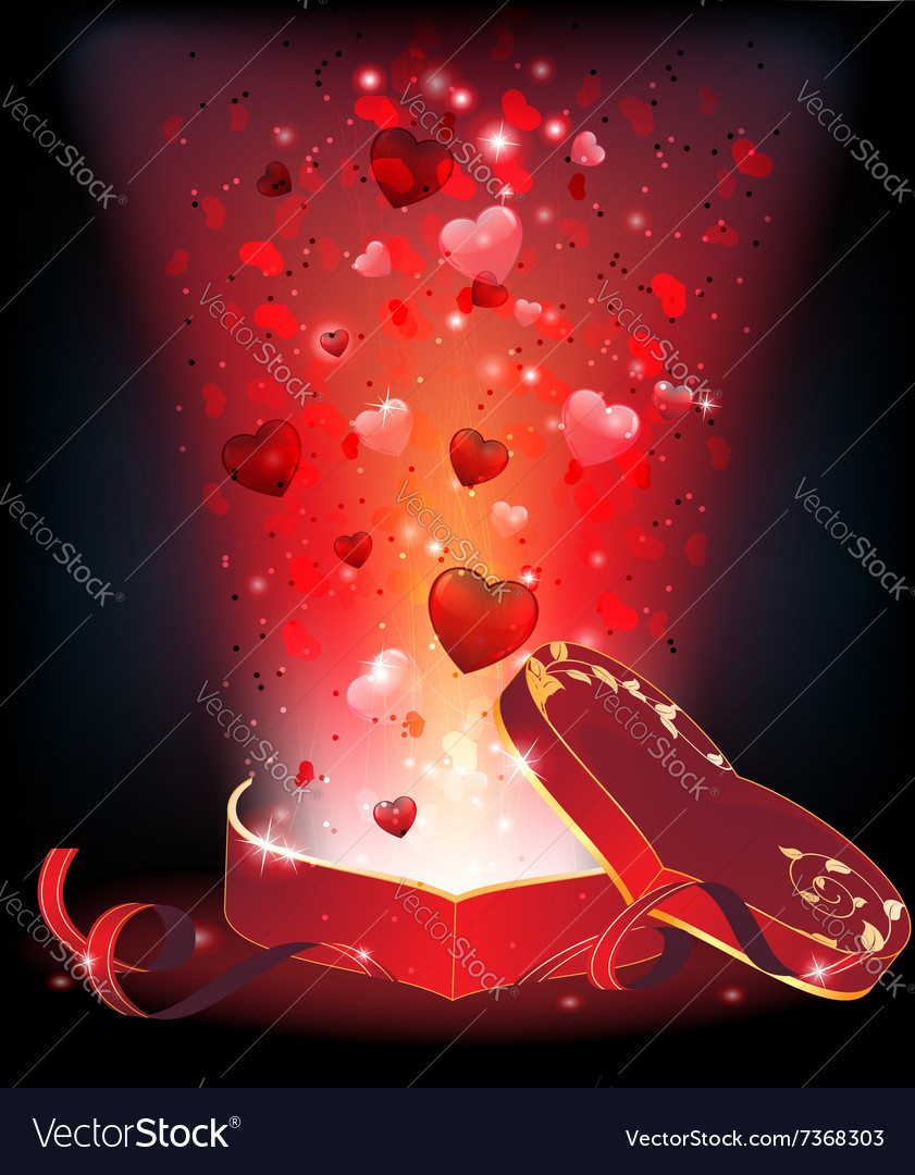 Box of chocolates and fireworks vector