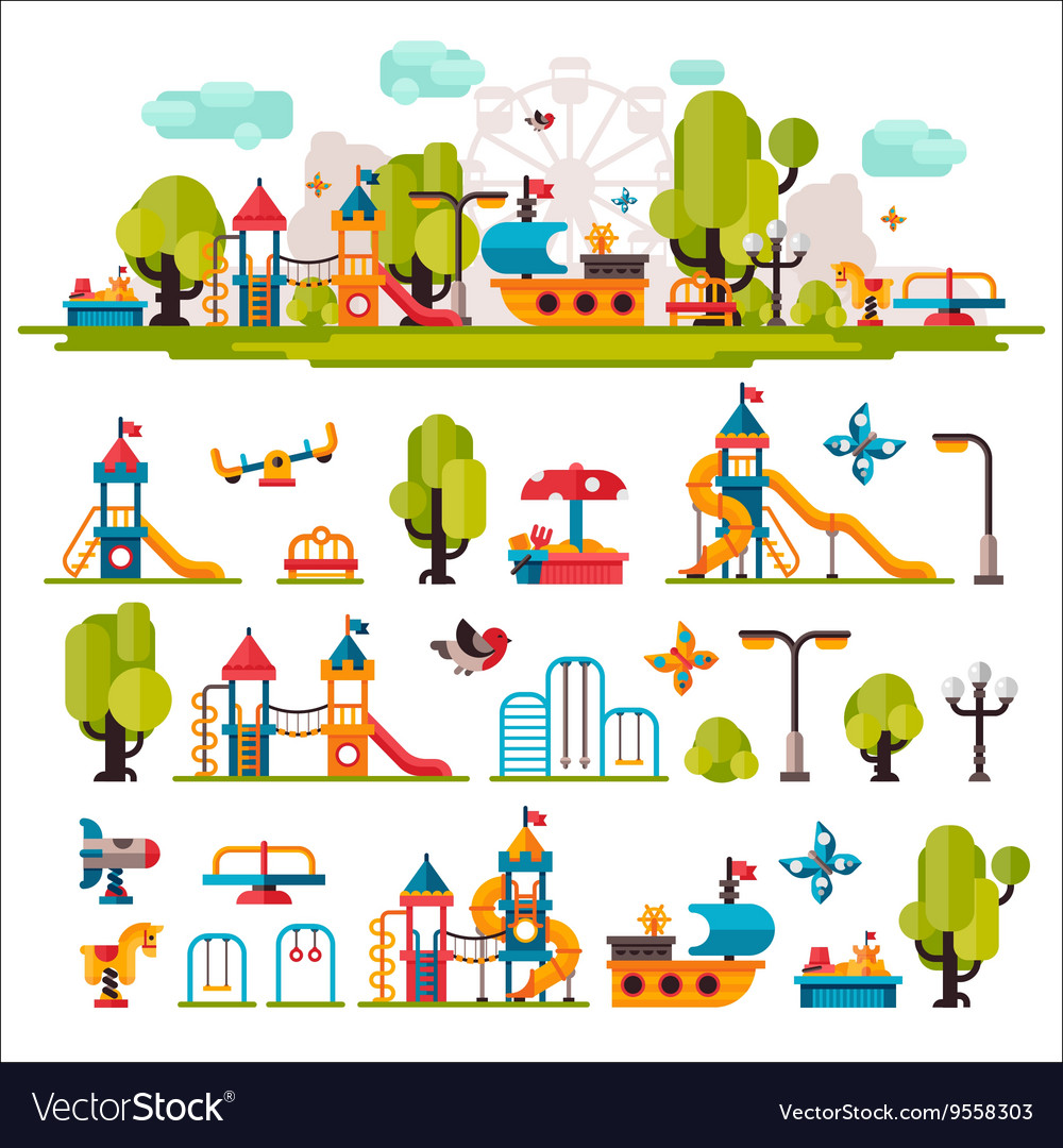Childrens playground drawn in a flat style vector