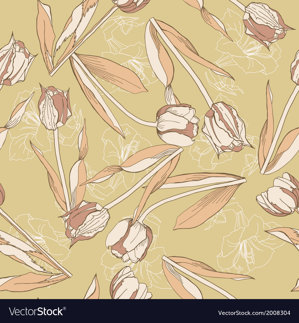 Brown seamless pattern with tulips vector
