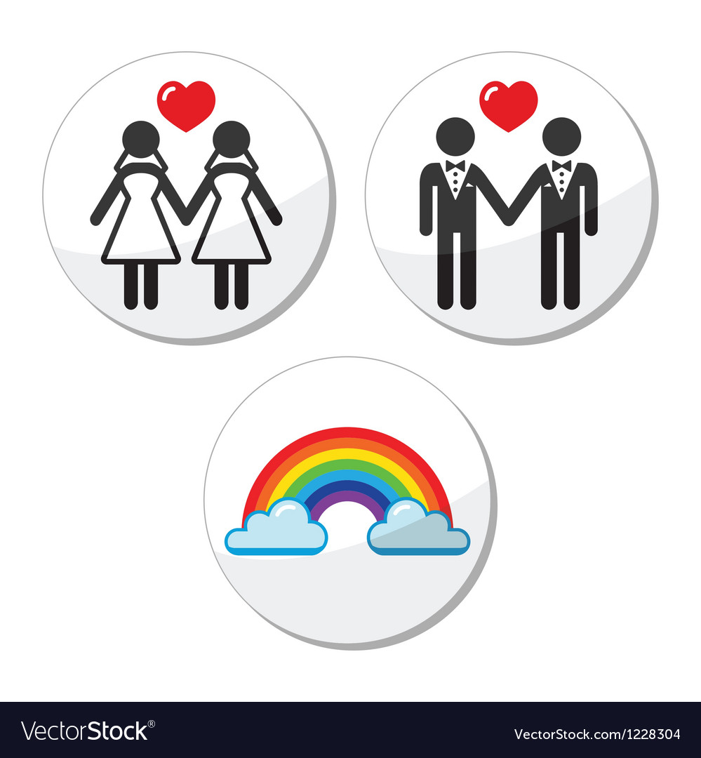 Gay lesbian marriage rainbow icons set vector