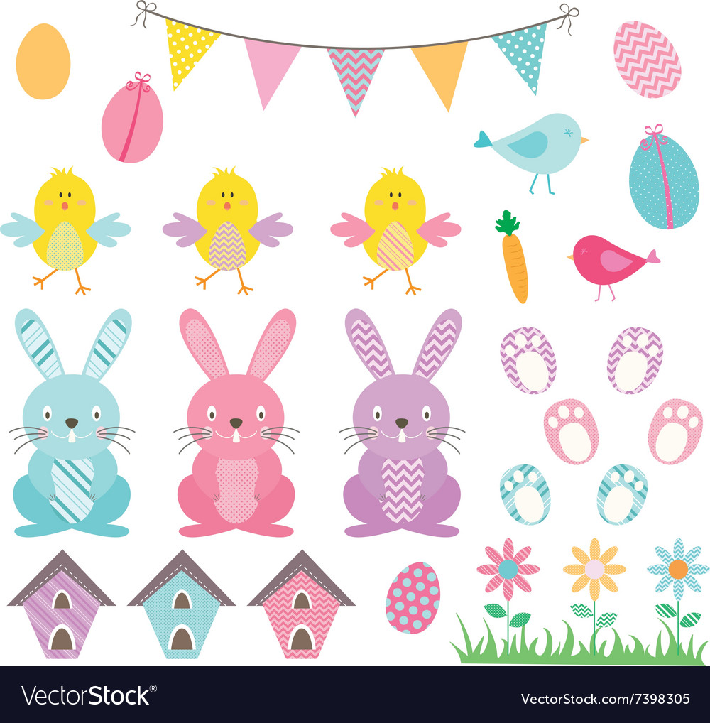 Easter bunny chicks collections vector