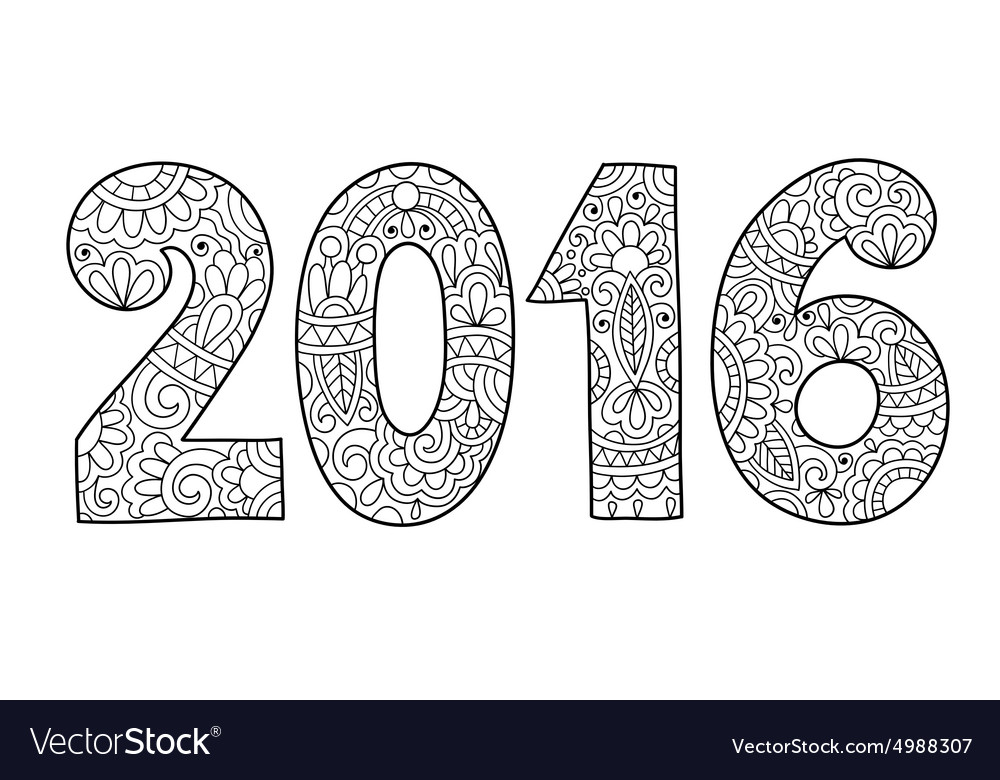 New year inscription 2016 hand written vector