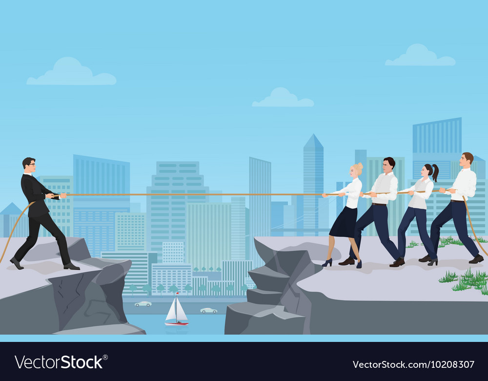 Powerful strong businessman competing with group vector