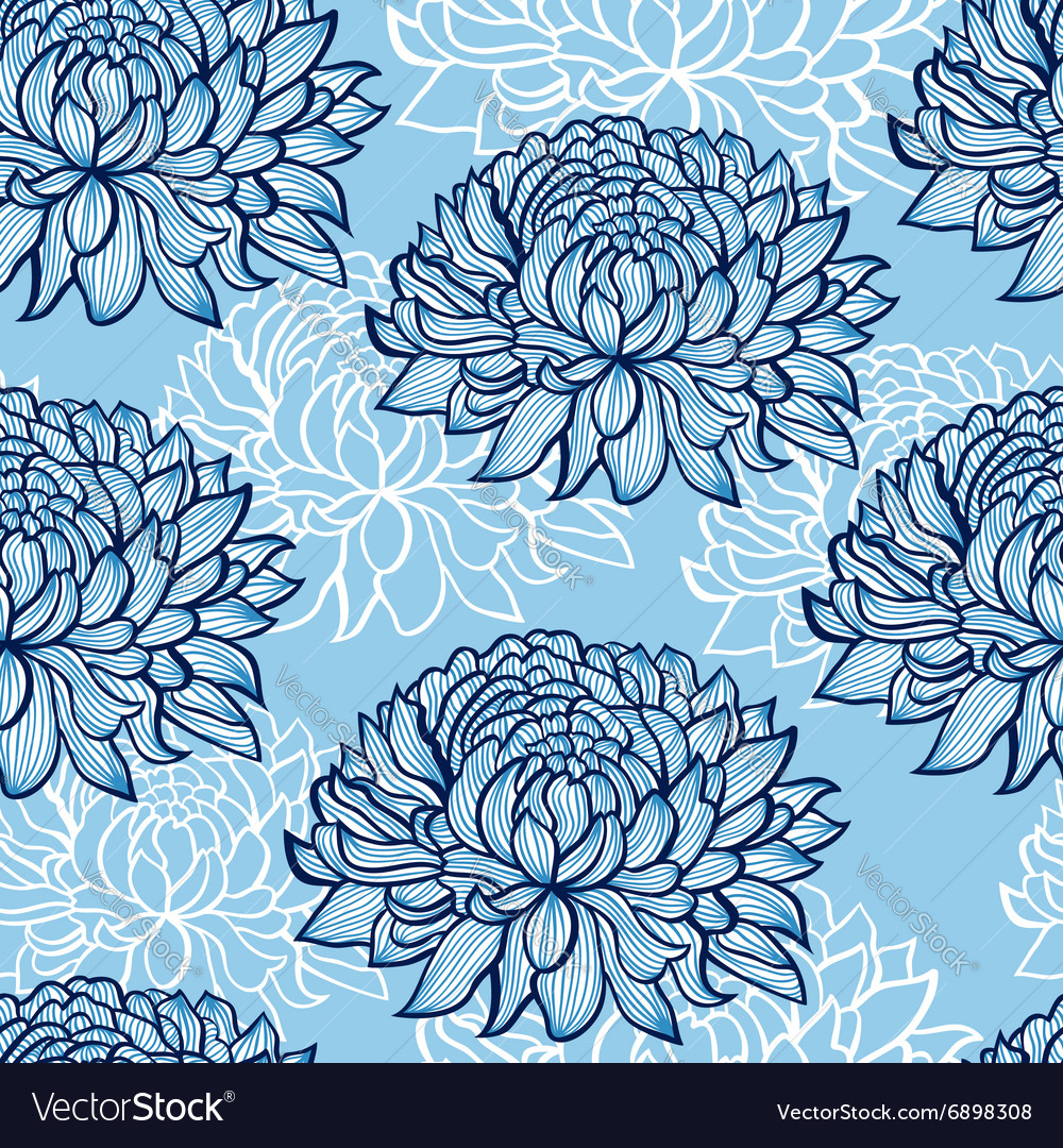 Abstract hand drawn chrysanthemums vector