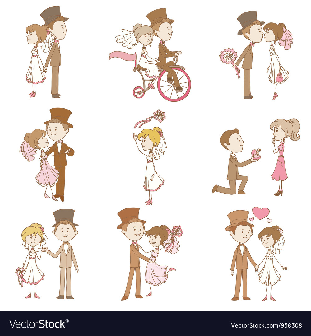 Wedding doodles  design elements vector