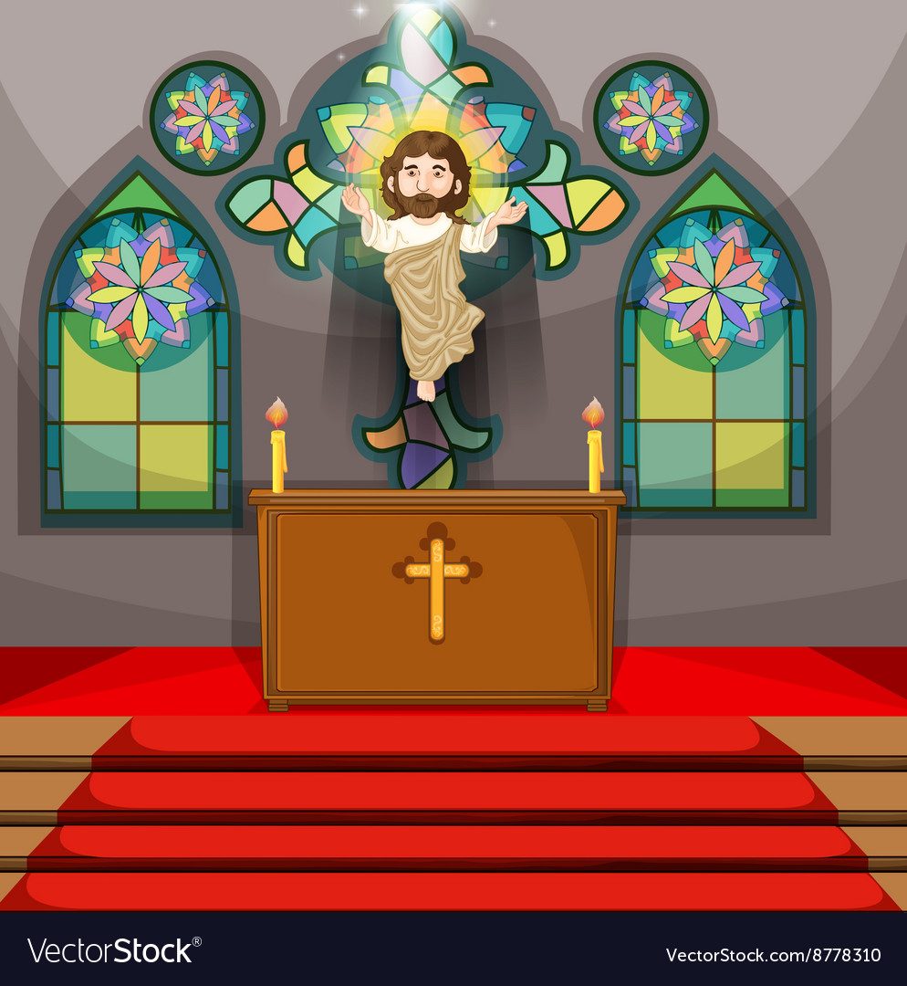 Jesus figure in the church vector
