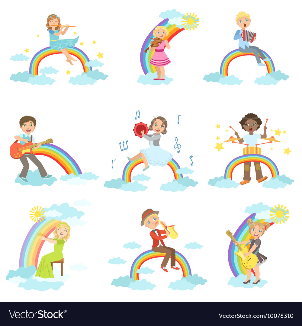 Kids playing music instruments with rainbow and vector