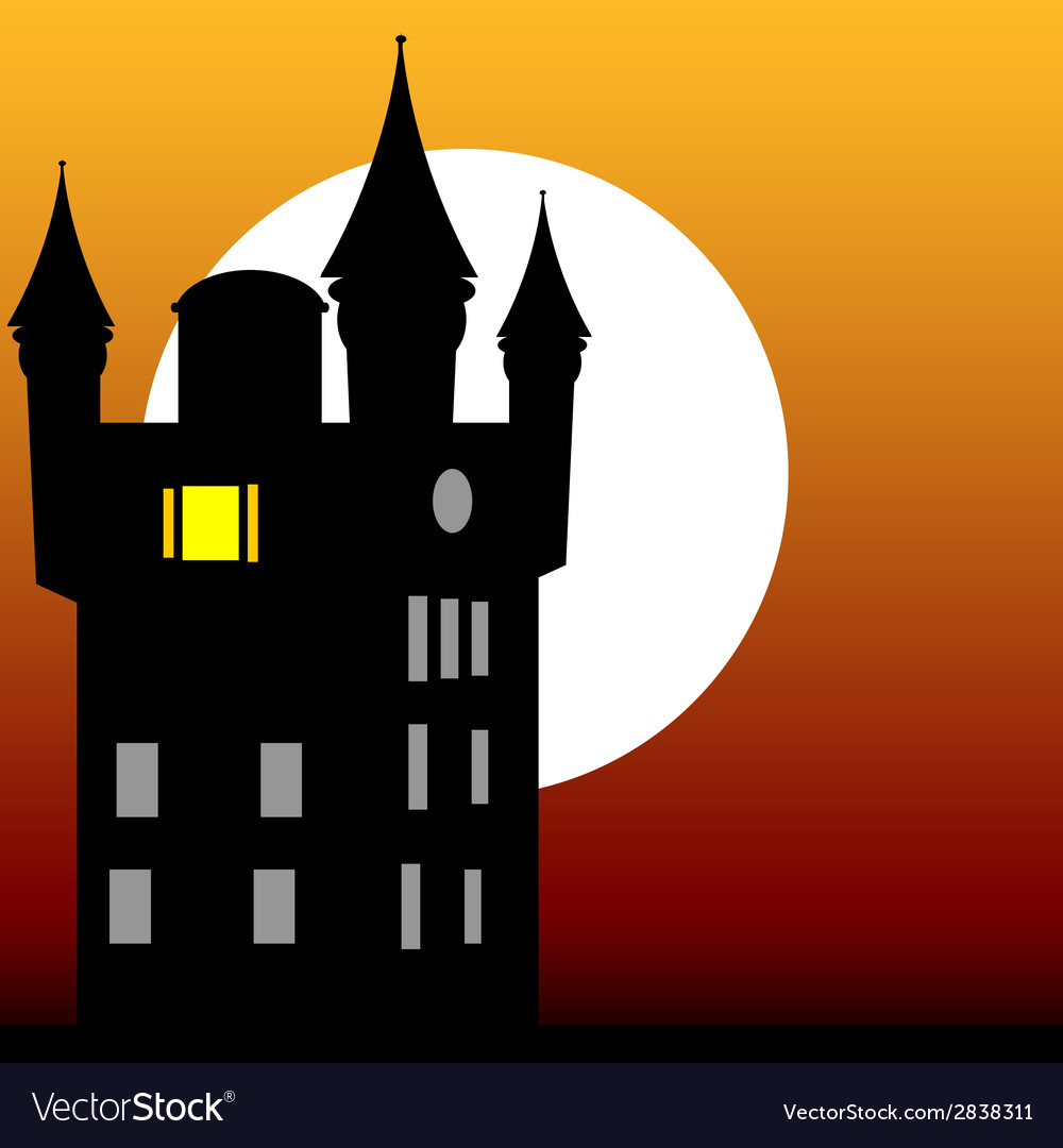 Castle at dusk vector