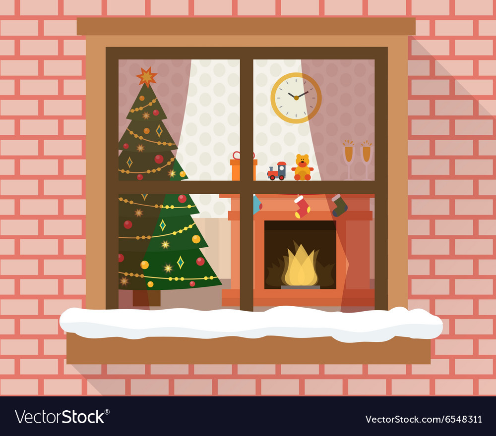 Christmas room through the window vector