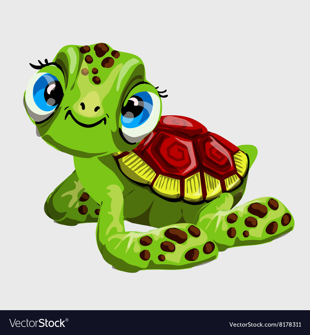 Cute green turtle with large blue eyes vector