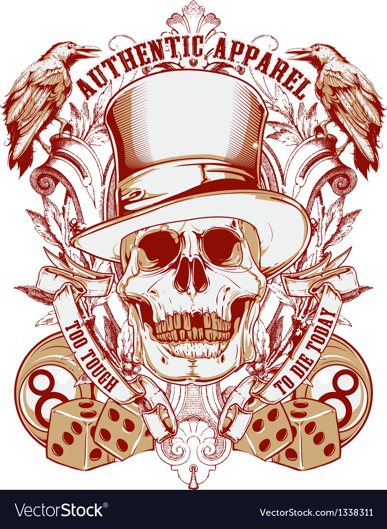 Gambling skull with top hat vector