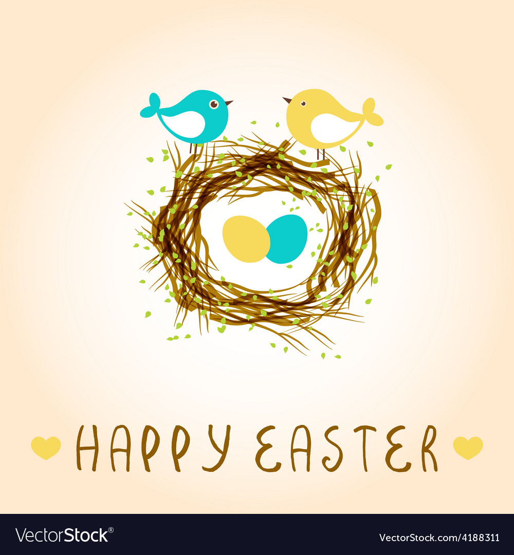 Happy easter card with birds and eggs in the nest vector
