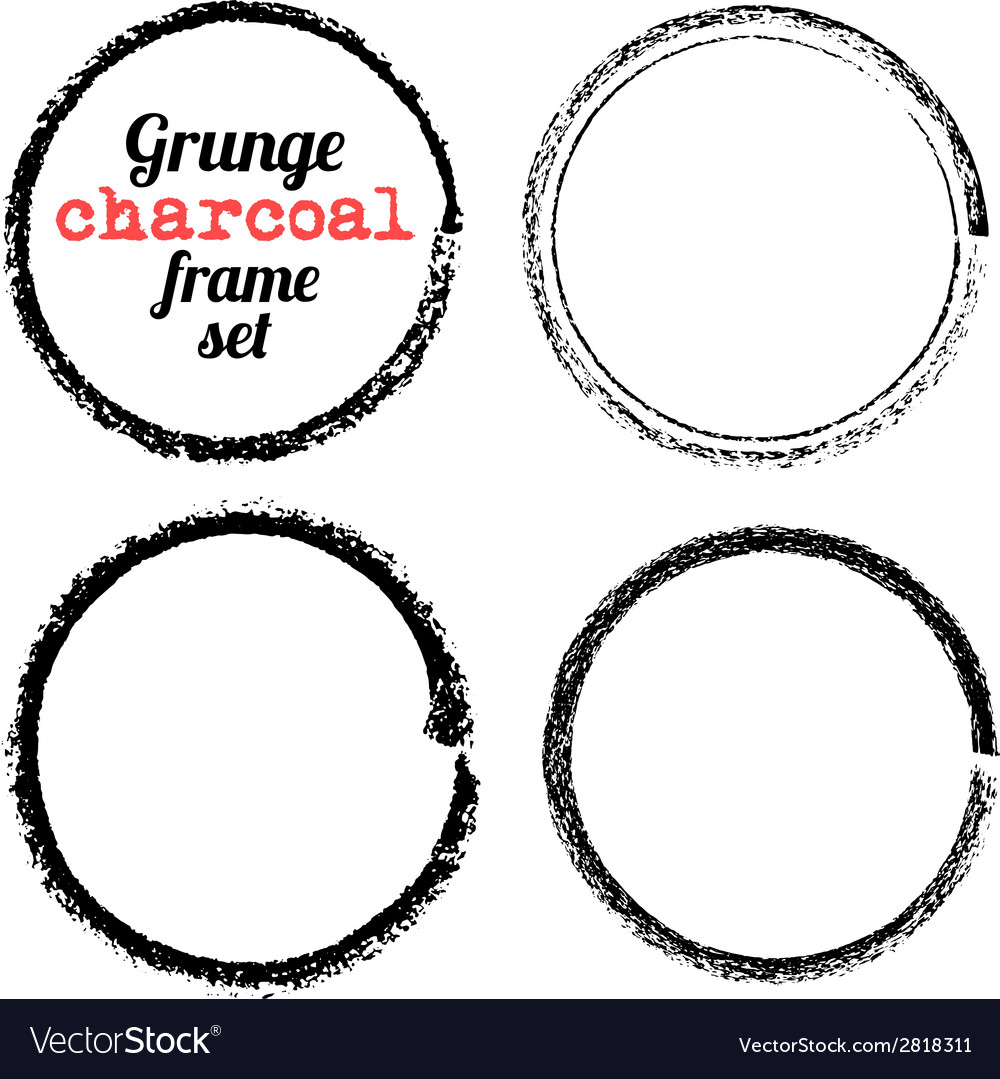 Set of four grunge circle charcoal frames vector