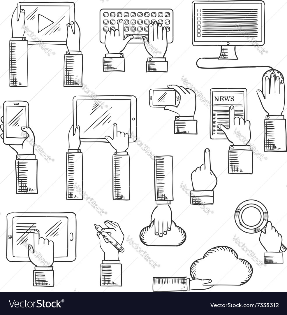 Human hands with digital devices vector