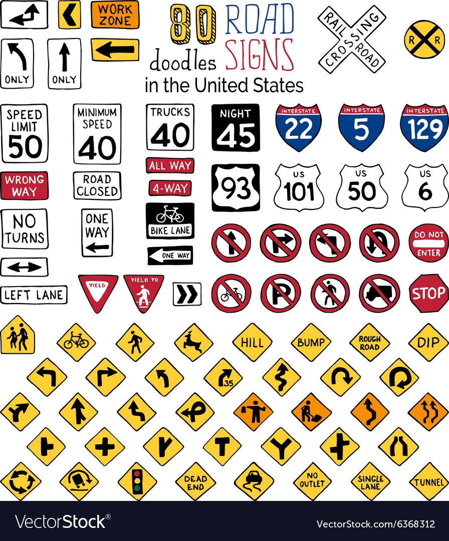 Set of cartoon road signs in the united states vector