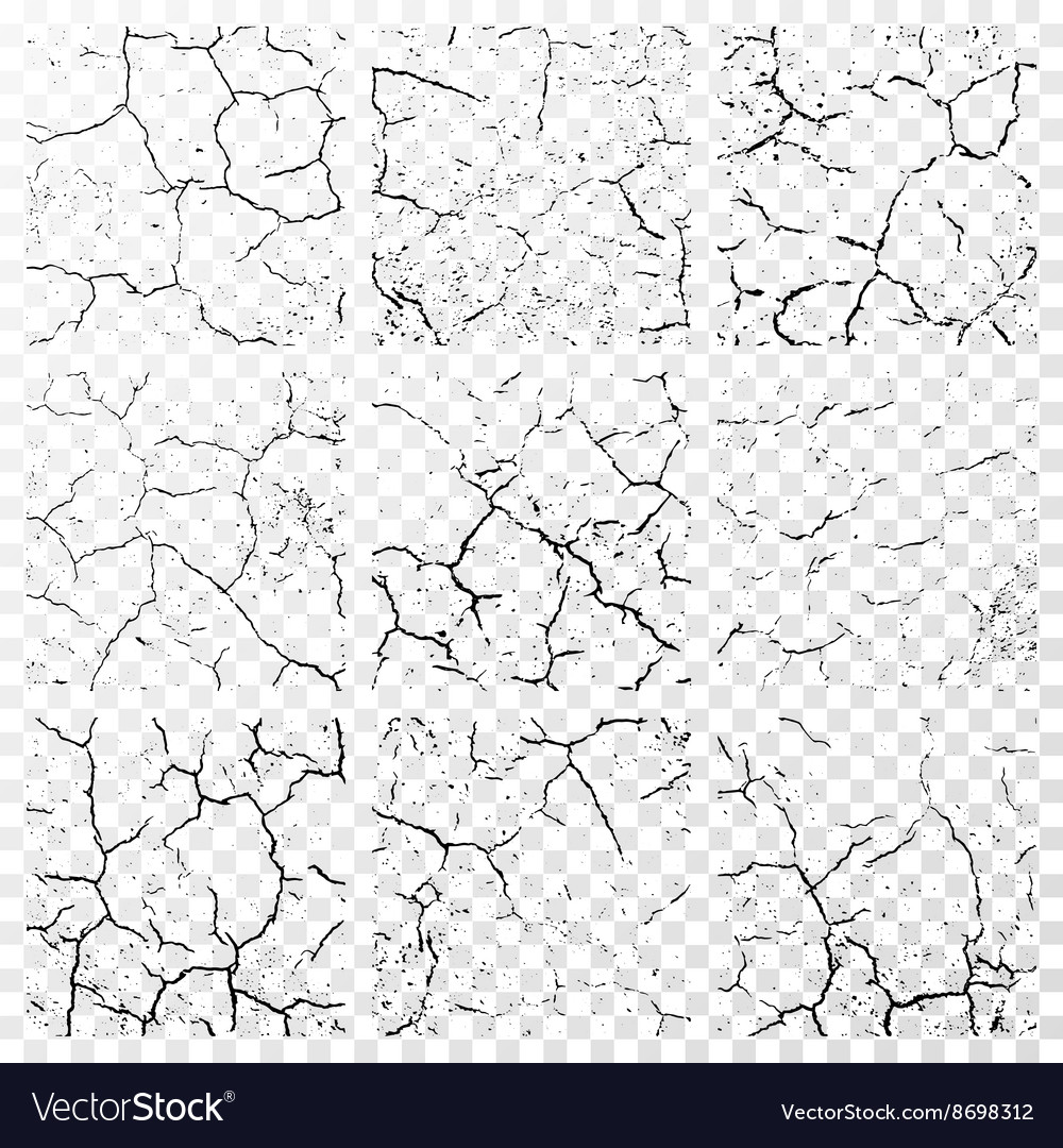 Set of realistic wall cracks isolated on white vector