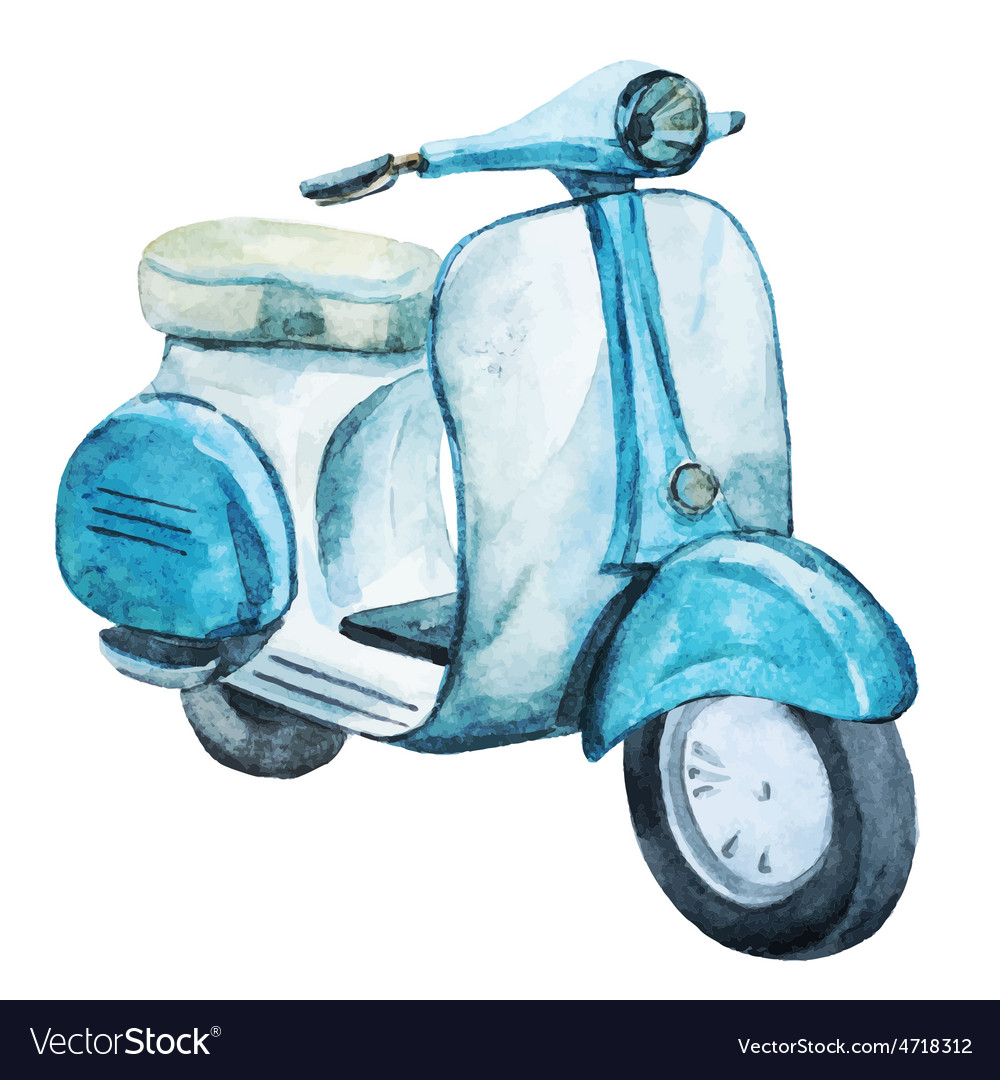 Watercolor vintage scooter vector