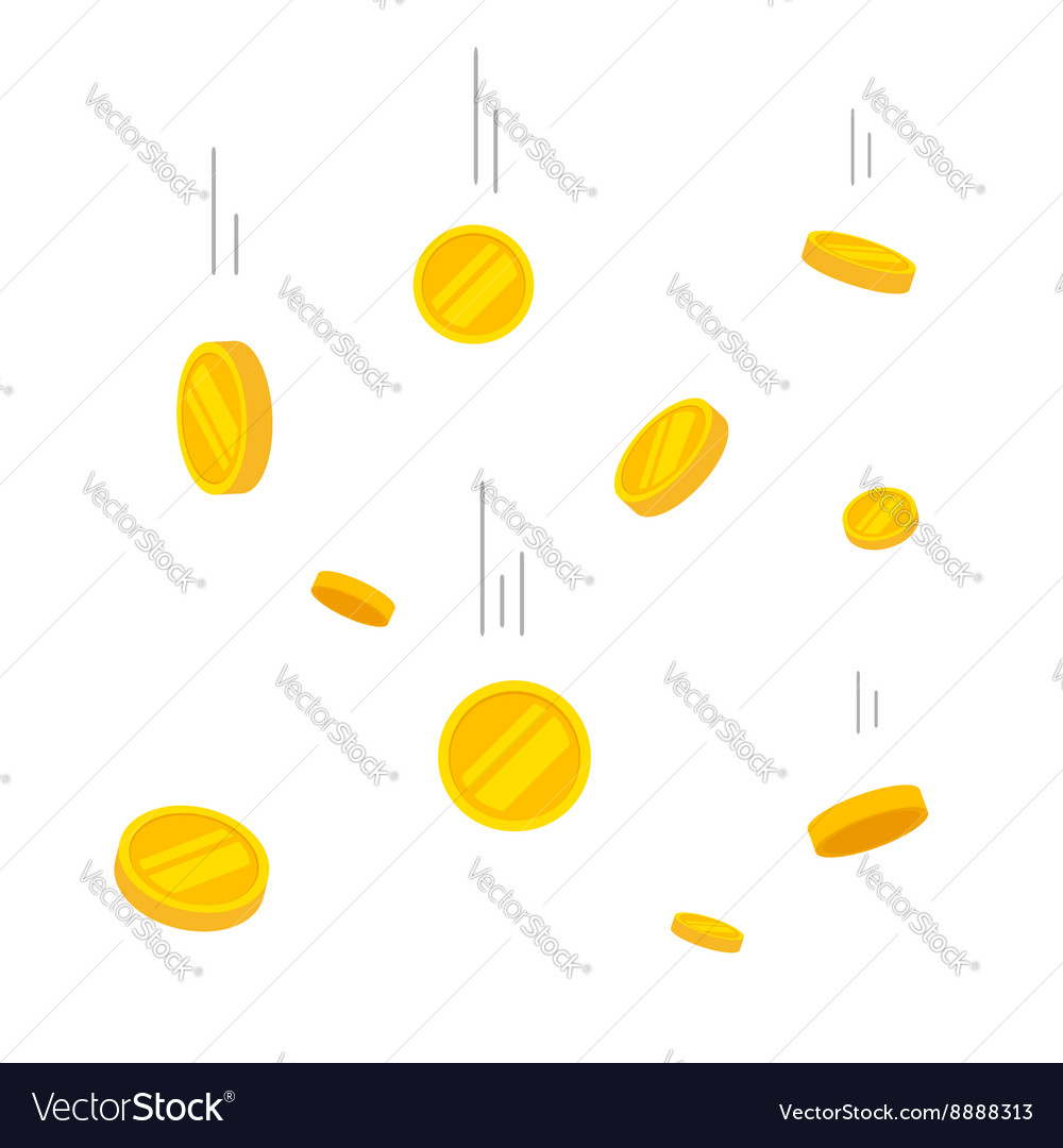 Coins falling gold money vector