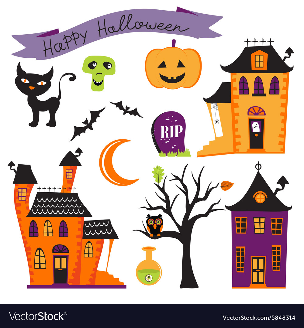 Cute halloween elements collection vector