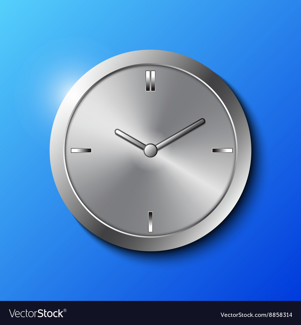 Stainless steel wall clock vector