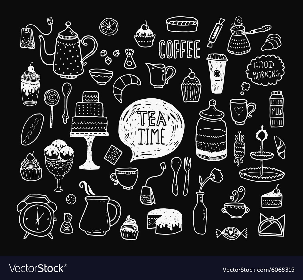 Hand drawn tea time collection vector