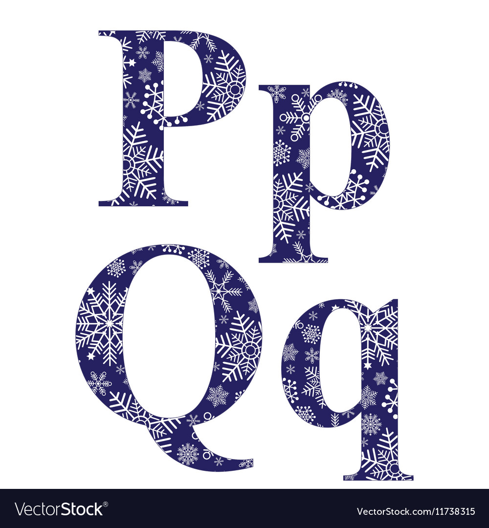 Uppercase and lowercase letters p and q vector