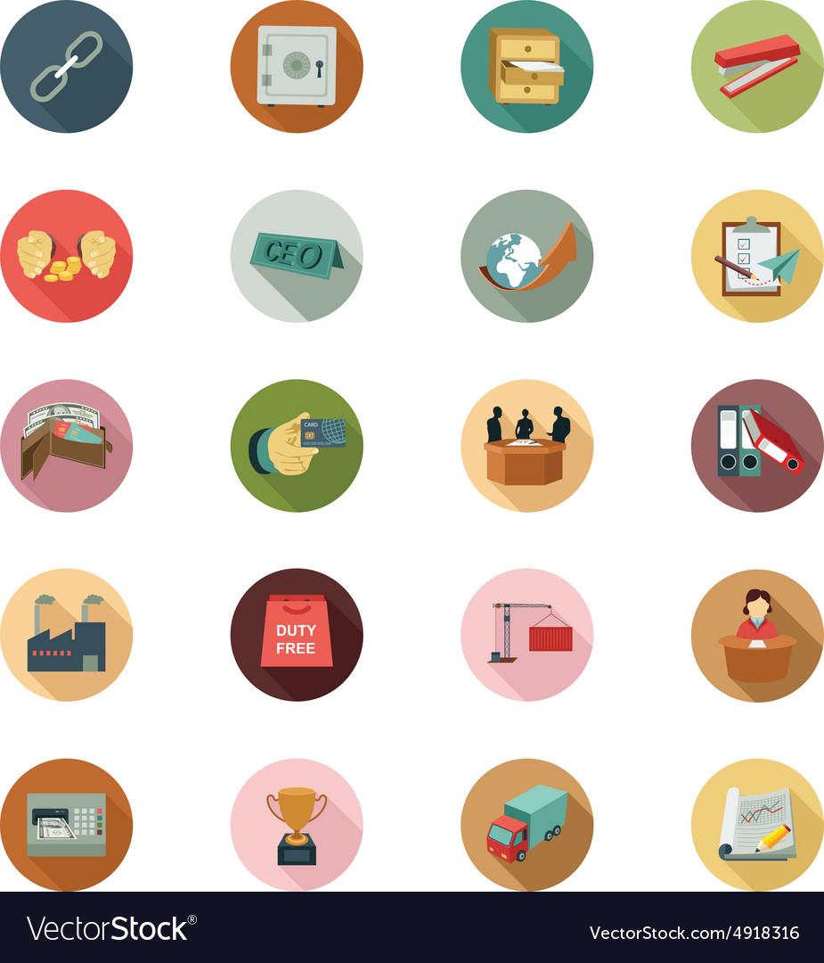 Business flat colored icons 4 vector