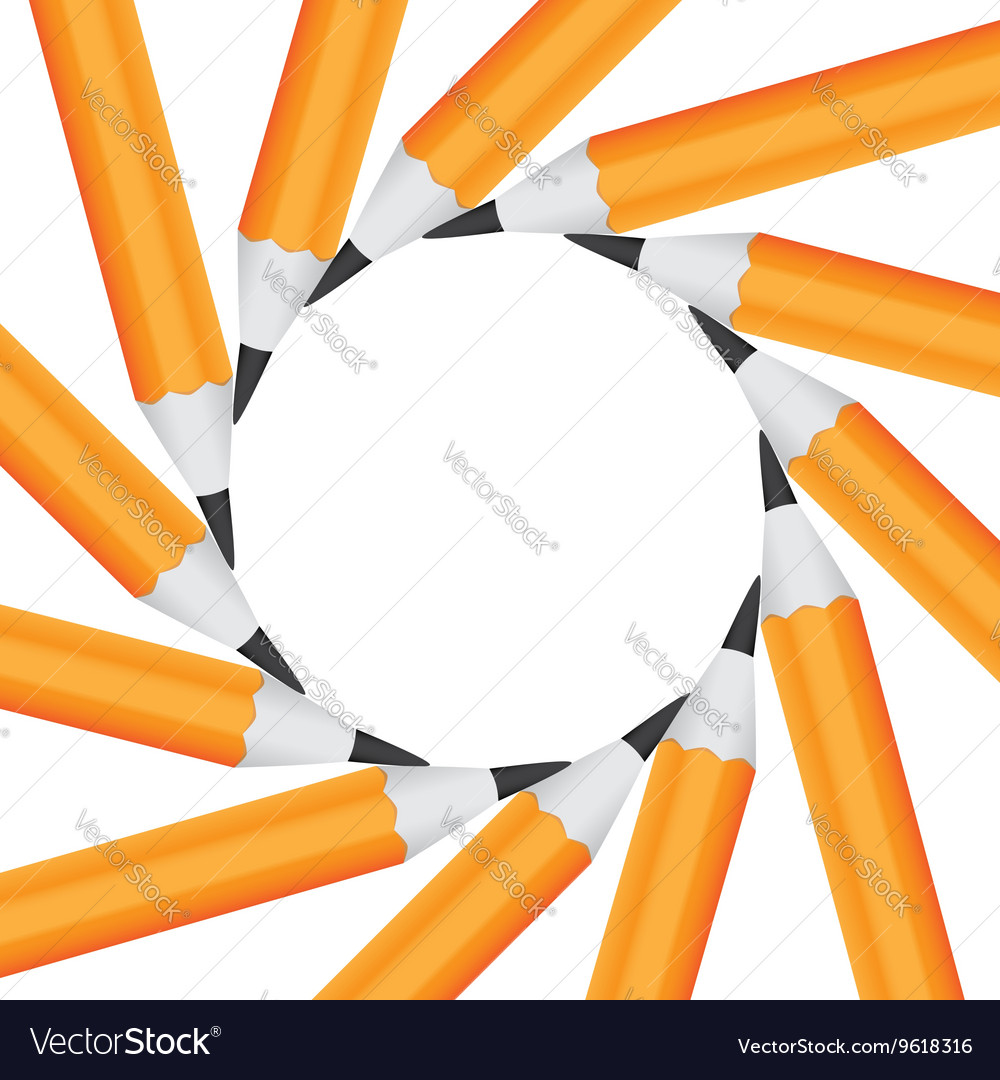Frame of office pencils in a circle isolated on vector