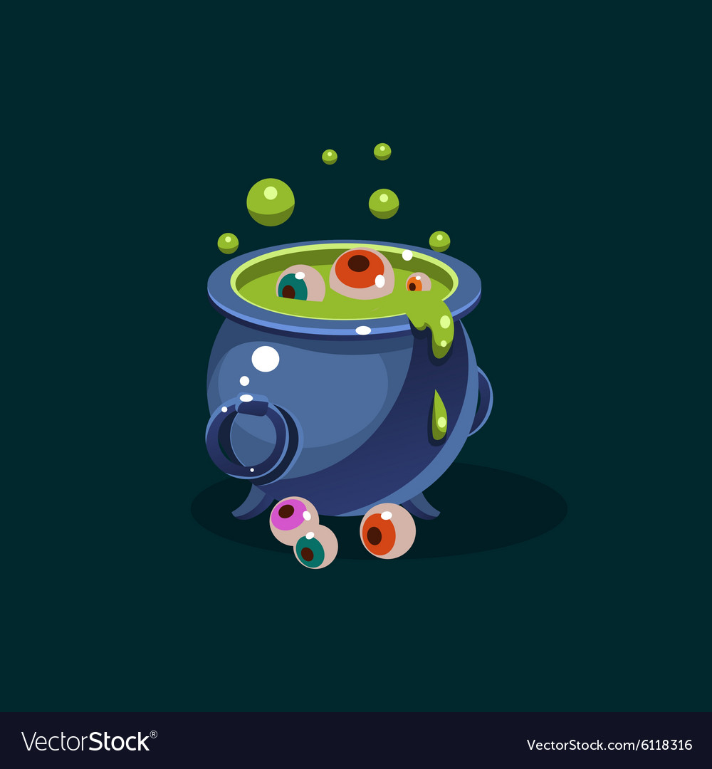 Pot of green potion and eyes vector