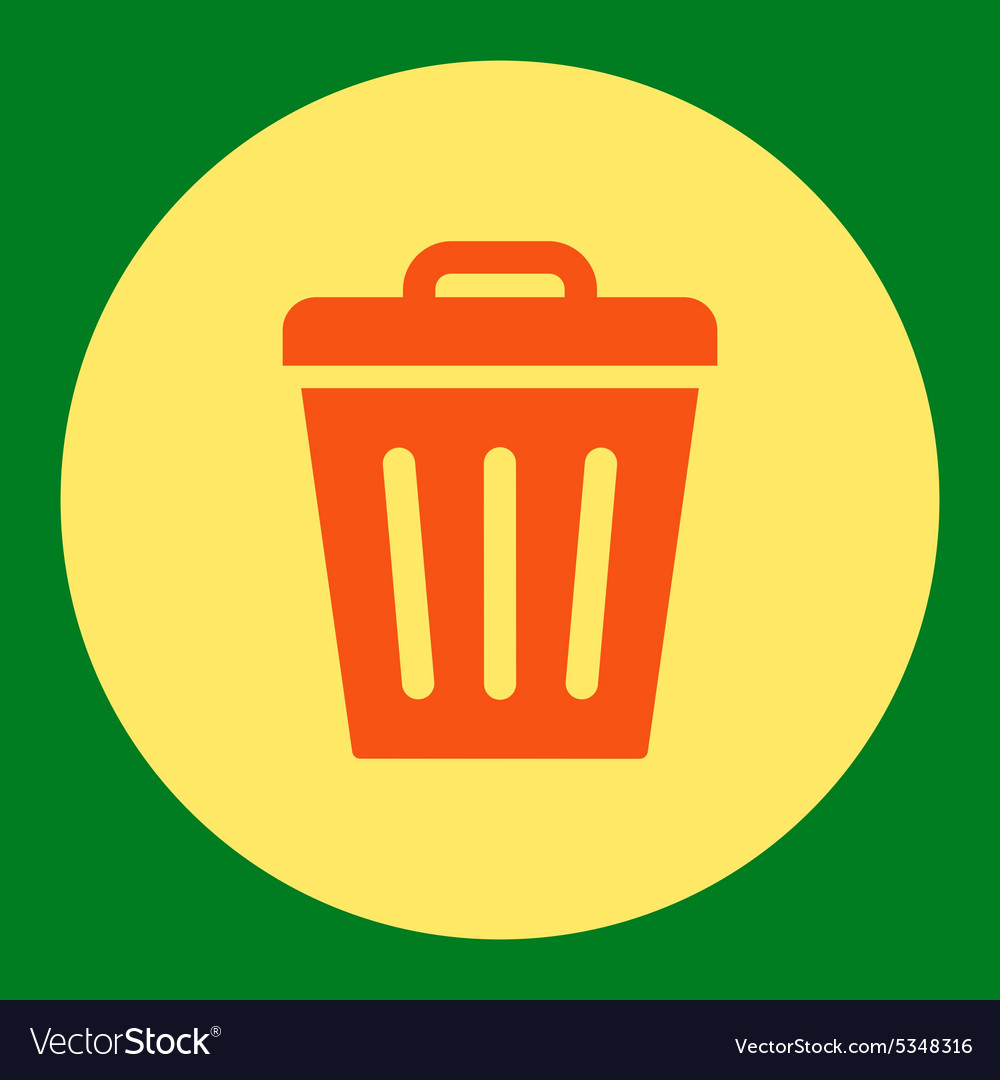 Trash can flat orange and yellow colors round vector