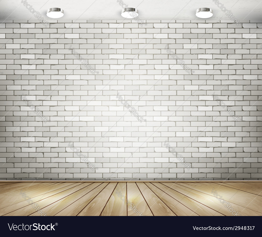 White brick room with spotlights vector