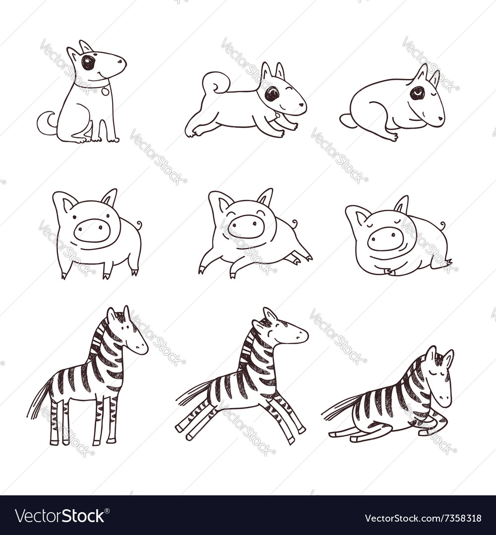 Cute doggies pigs and zebras vector
