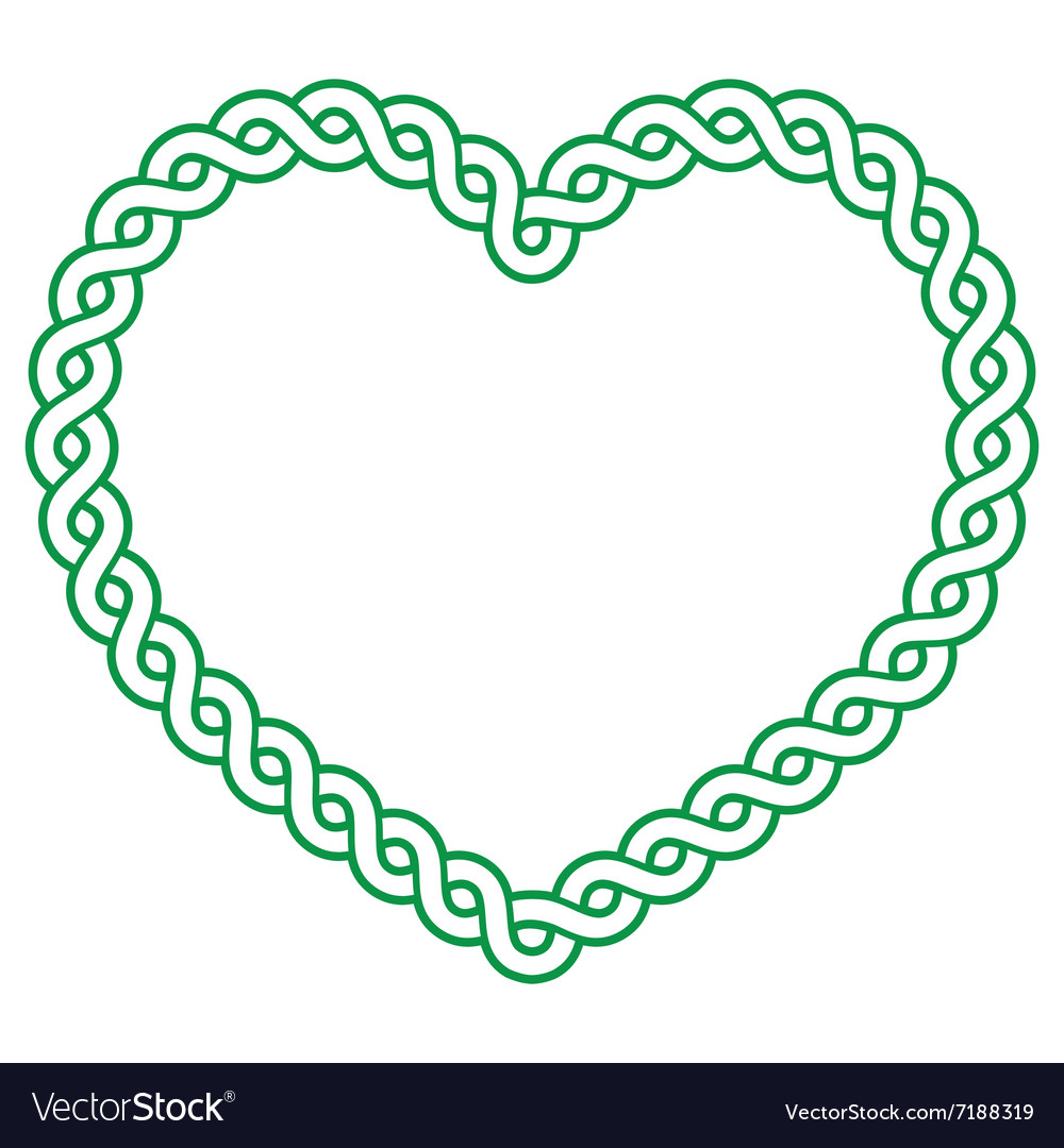 Celtic pattern green heart shape  love concept fo vector