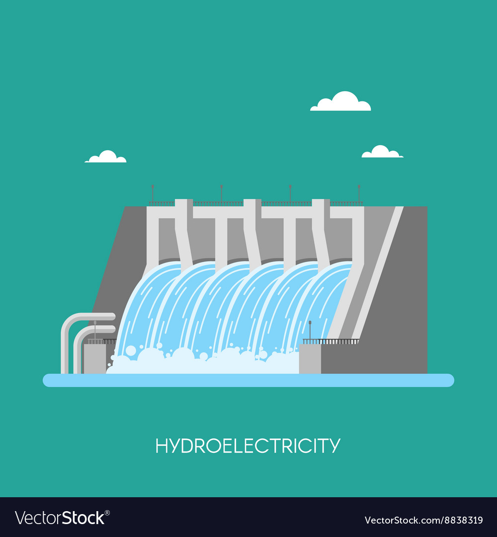 Hydro power plant and factory energy industrial vector