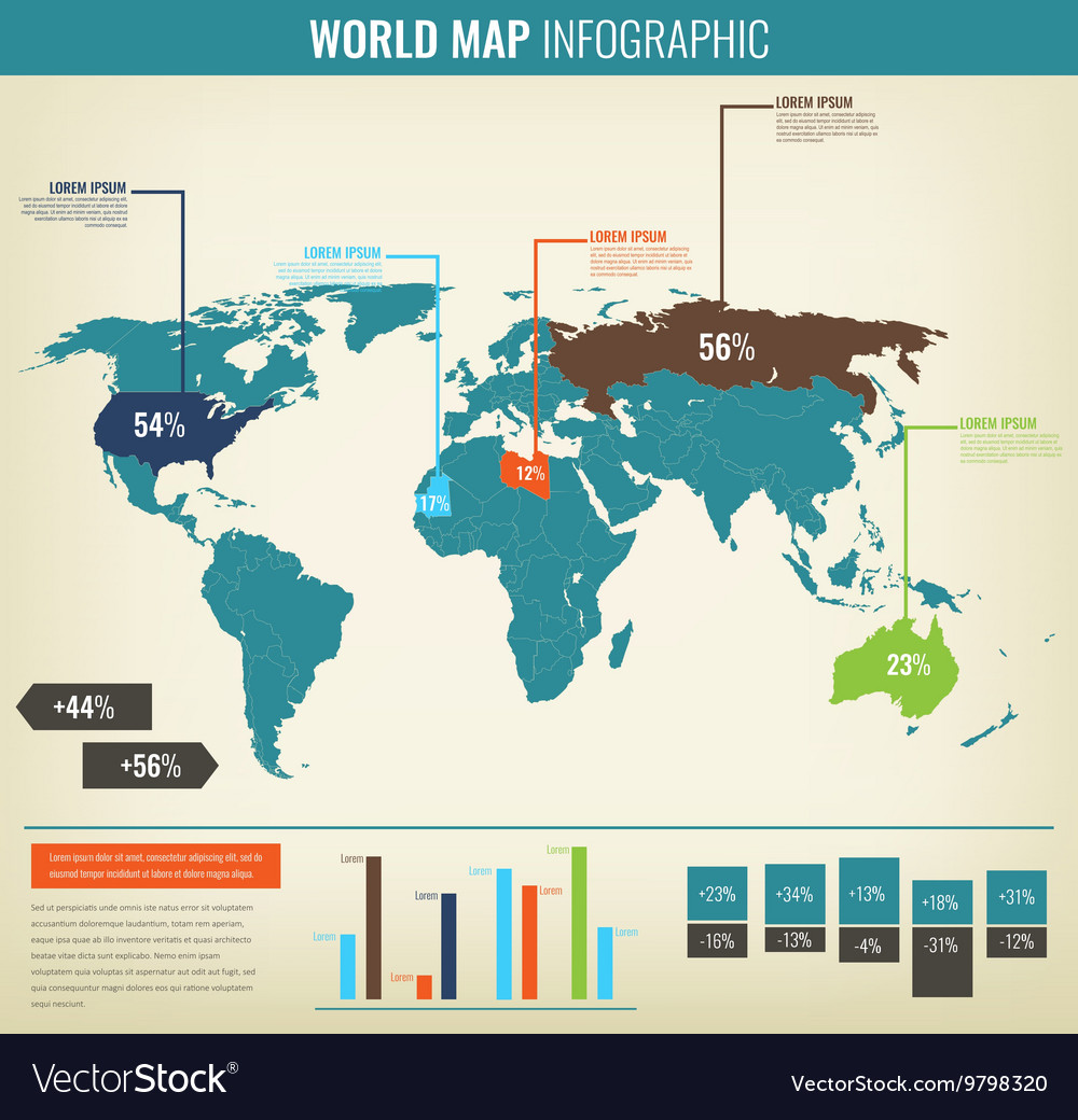 Detail infographic world map and information vector