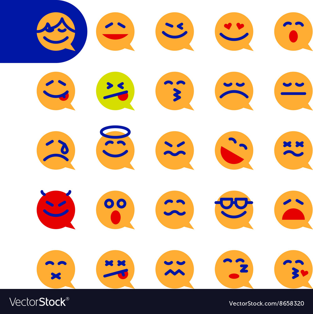 Set of emoji speech bubble emoticons vector