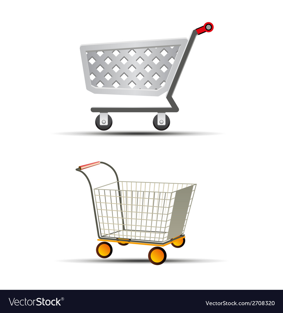 Two shopping trolley or sho vector