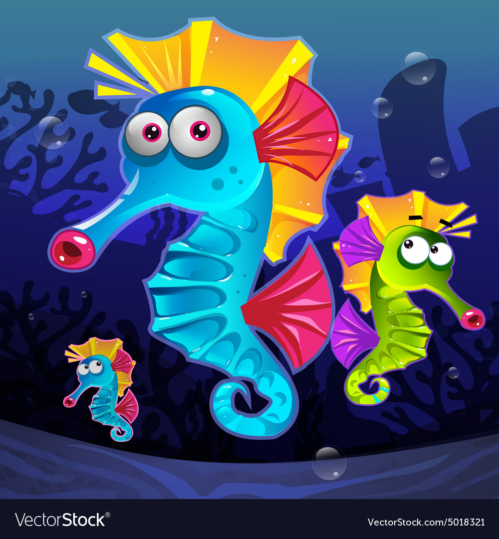 Colorful seahorses underwater vector