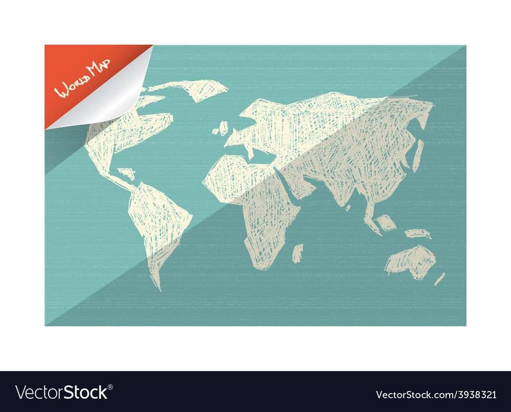 Doodle world map vector