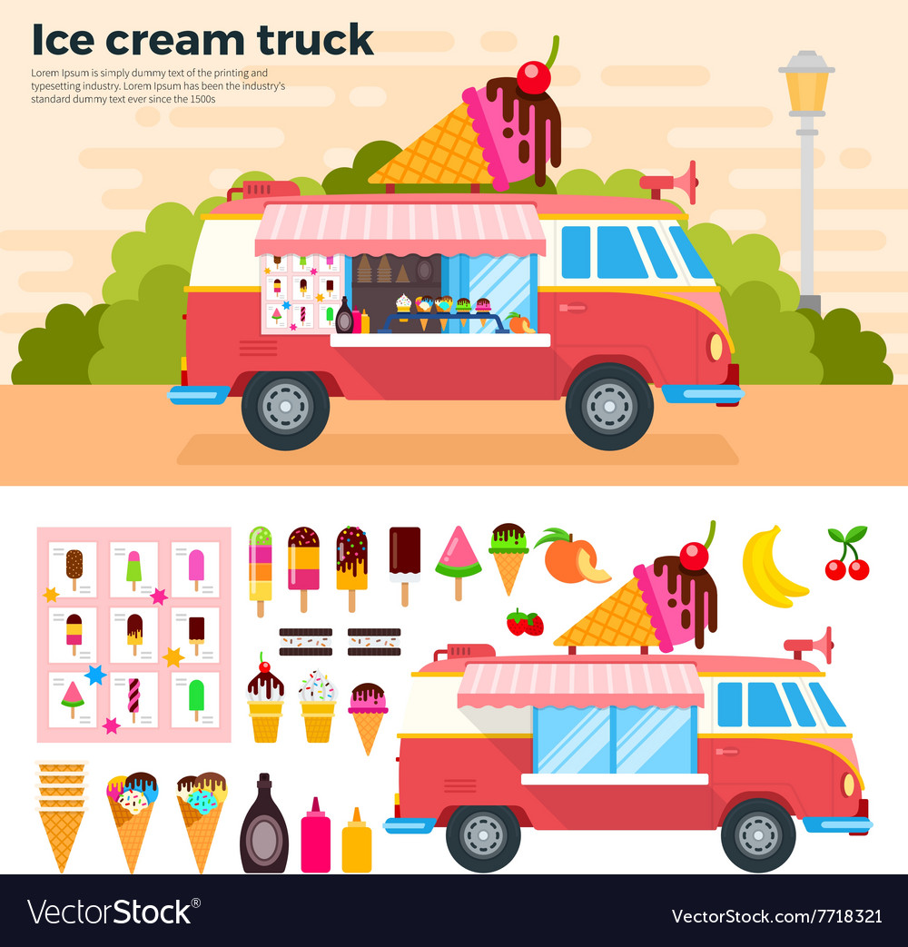 Ice cream truck in a hot day vector