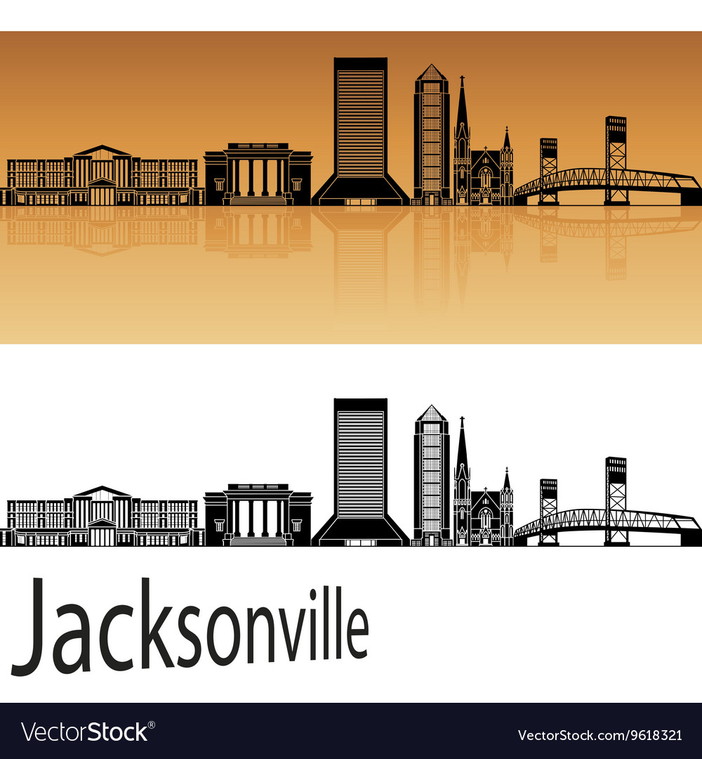 Jacksonville skyline in orange vector