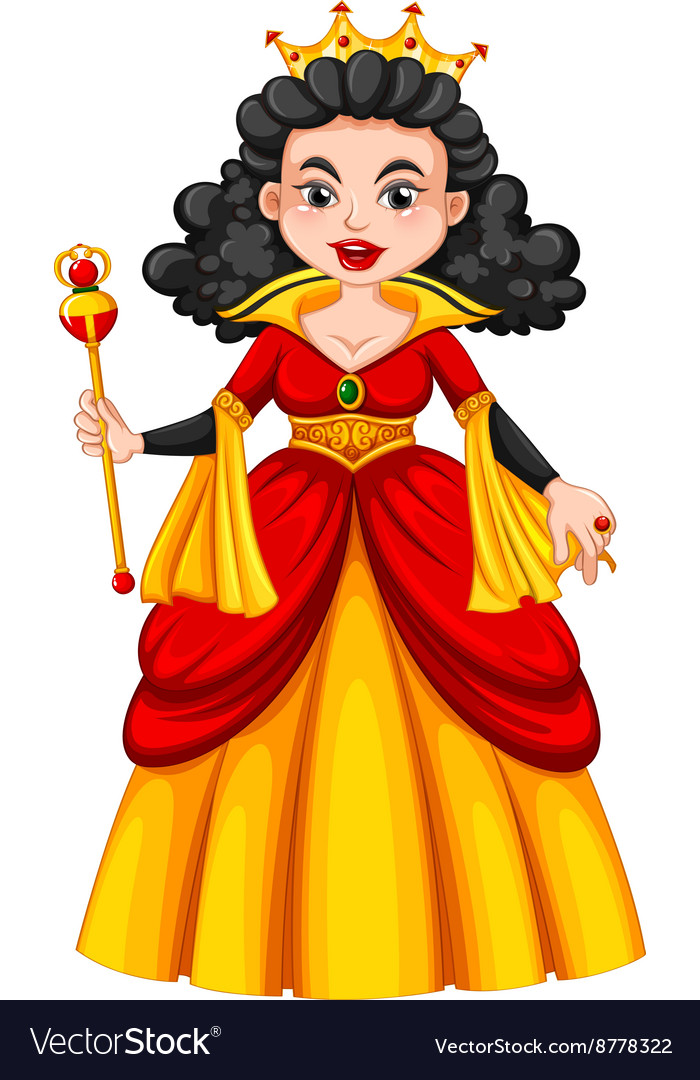 Queen in red and yellow dress vector