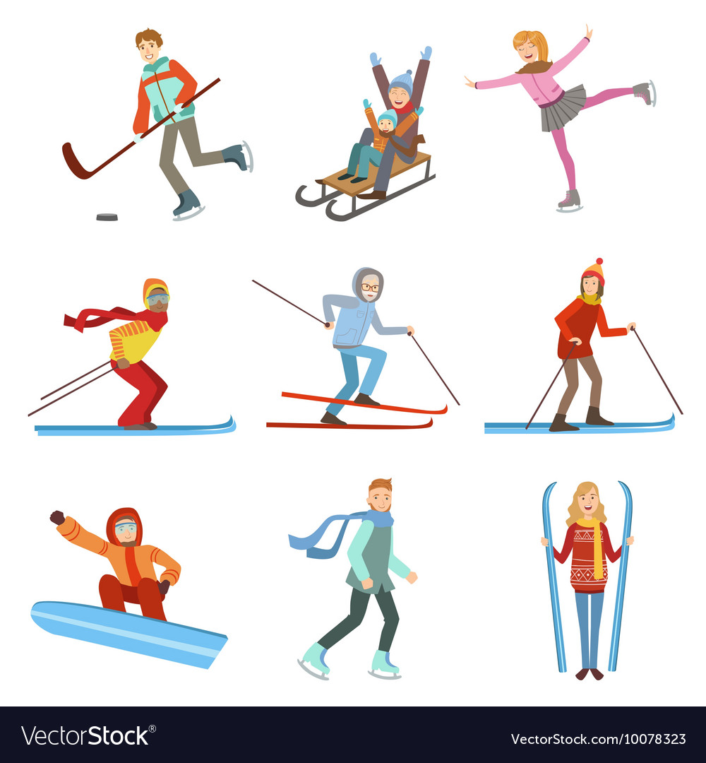 People doing winter sports set vector