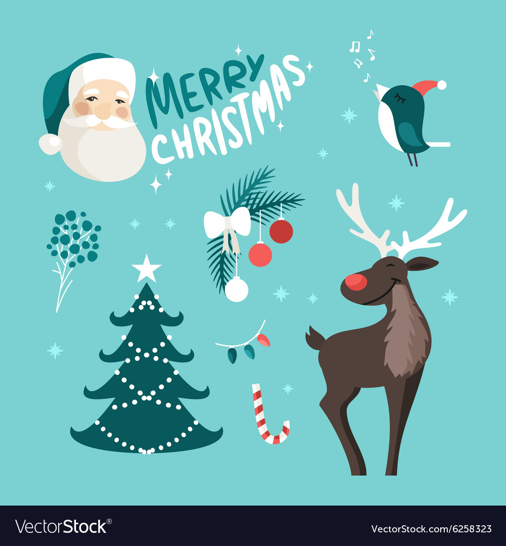 Set of christmas and new year cute hand drawn vector