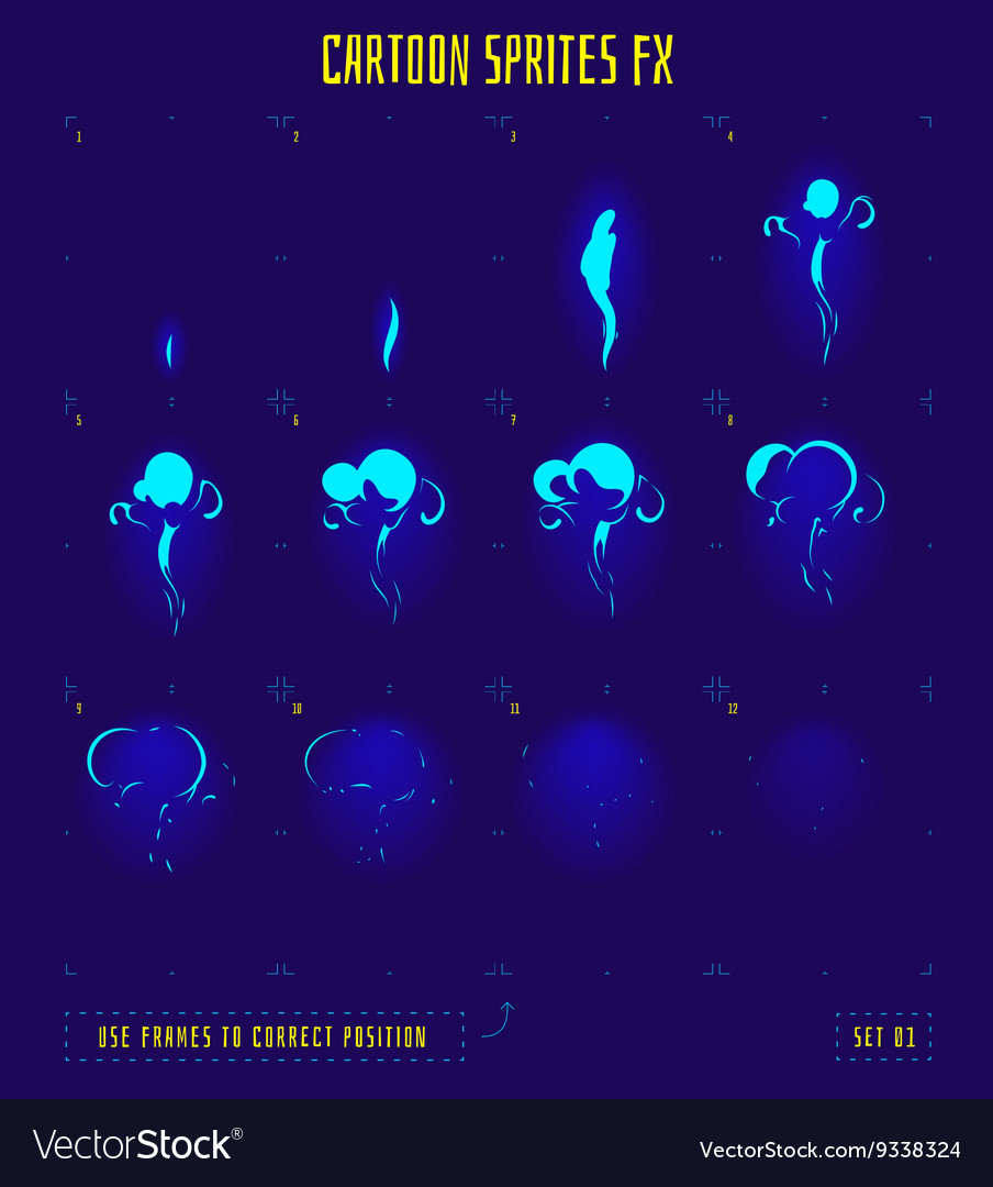 Animation frames or smoke sprites vector