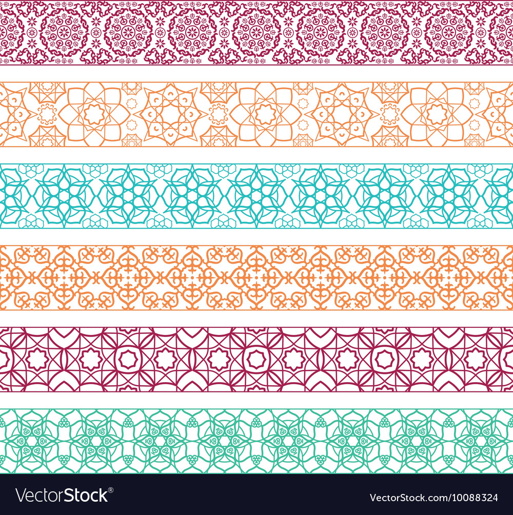 Borders with arabic pattern vector