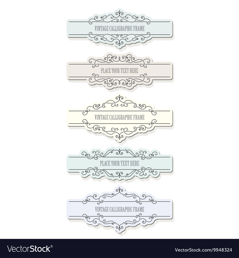 Vintage filigree frames and borders set vector